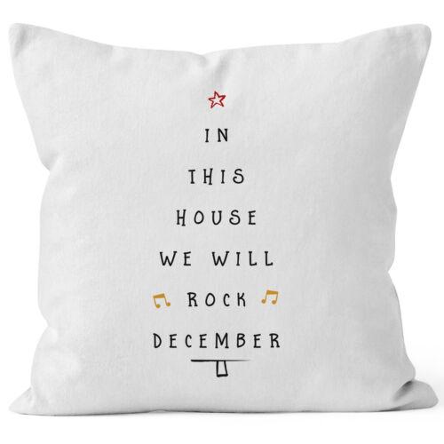 Kissenbezug in this house we will rock december Weihnachten Geschenk 40x40