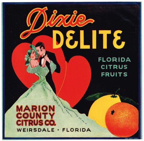 DIXIE DELITE CRATE LABEL FLORIDA VINTAGE HONEYMOON ORIGINAL WEIRSDALE C1930