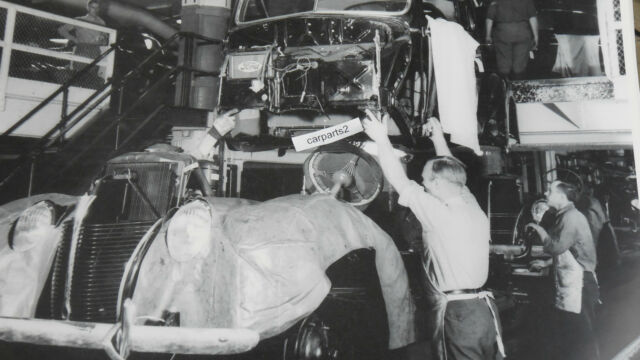 """1938 Ford assembly line body to frame 12X18"""" Black & White Picture"""