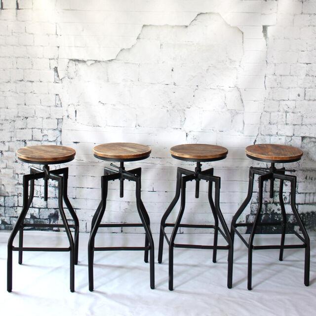 Phenomenal Set Of 4 Rustic Pub Bar Stools Industrial Metal Wood Seat Adjustable Swivel A7T8 Machost Co Dining Chair Design Ideas Machostcouk