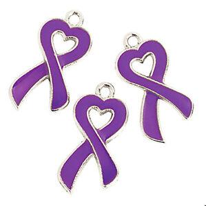 purple ribbon charms heart cancer awareness pendants cf lupus lot of