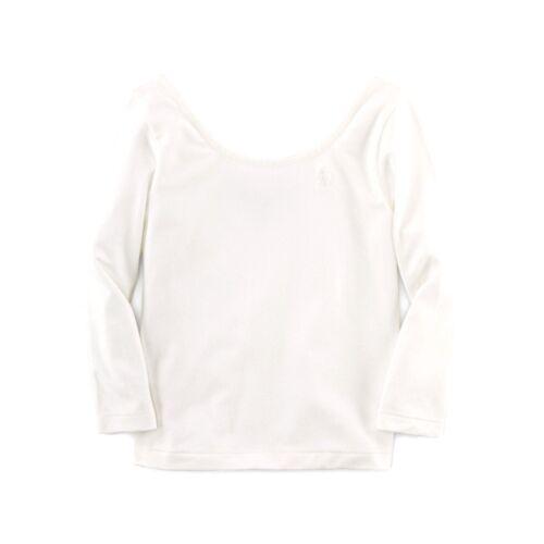RALPH LAUREN girls slim fit stretchy TOP scoop neck 2Y 5Y blue or white BNWT