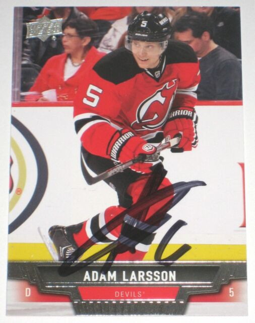 ADAM LARSSON SIGNED 13-14 UPPER DECK NEW JERSEY DEVILS CARD AUTOGRAPH AUTO!!