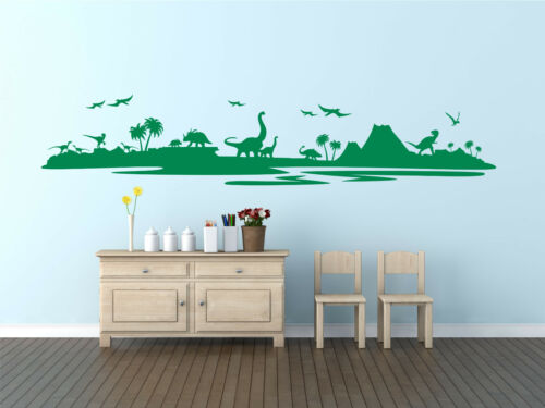 Dinosaur Jurassic Landscape World Skyline. T-Rex Raptor wall decal sticker art.