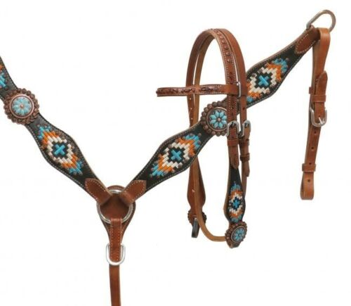 Showman TURQUOISE Navajo Embroidered Headstall//Breast Collar Set NEW HORSE TACK