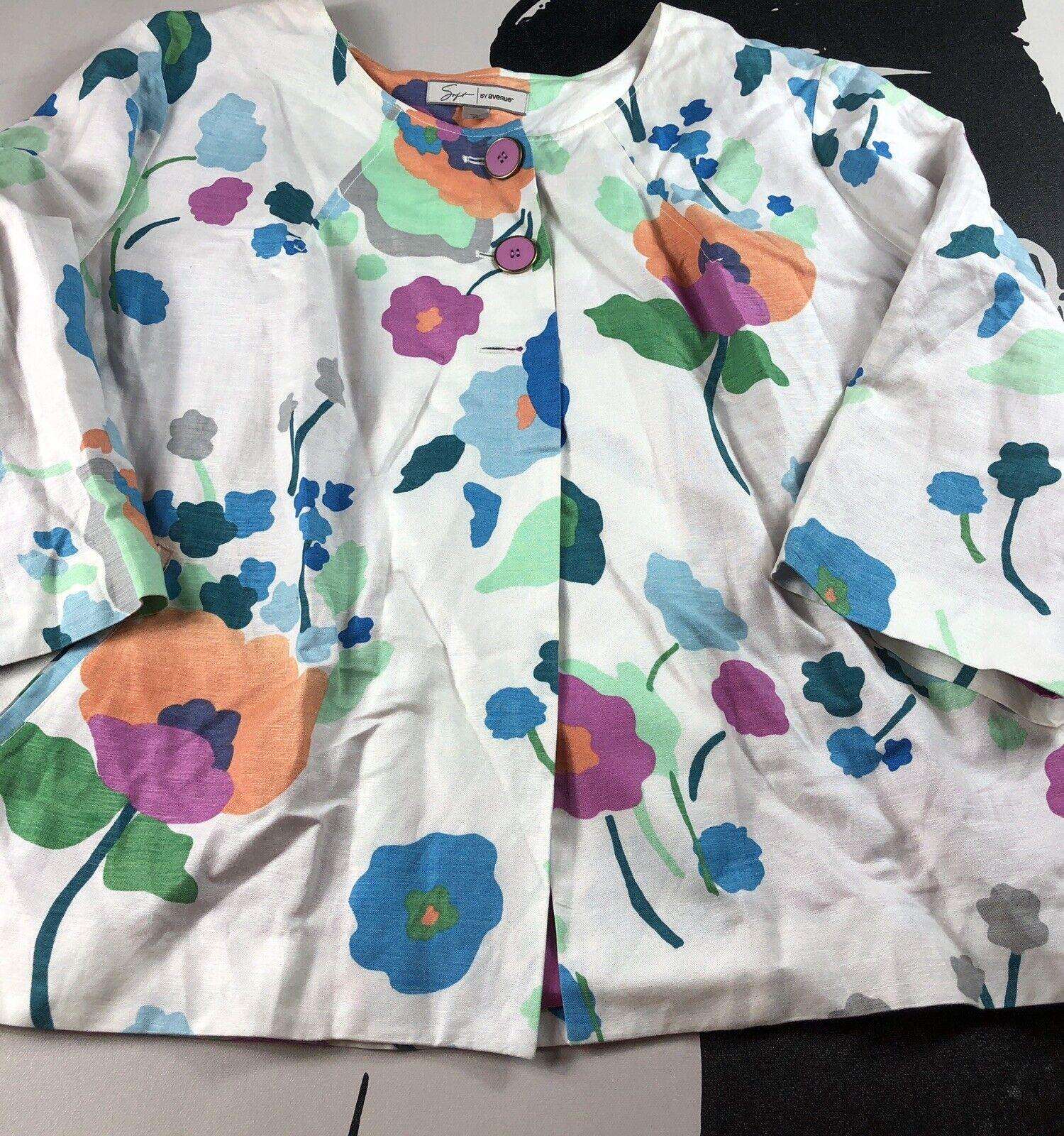 Soft by Avenue Womens White Purple Floral Cropped Swing Jacket Linen Blend Sz 26