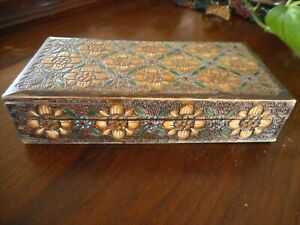 "Folk Art Antique Wood Trinket Box Wood Carved Colored Primitive Flowers apx 7"" l"