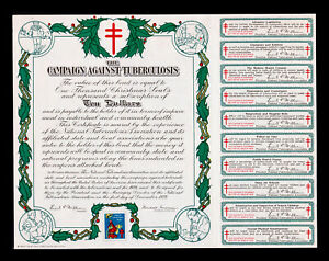 CAMPAIGN AGAINST TUBERCULOSIS CHRISTMAS SEAL BOND $10 DOUBLE-BARRED CROSS 1929