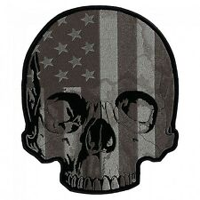 Patriotic Subdued USA American Flag Half Skull Embroidered Biker Patch Large