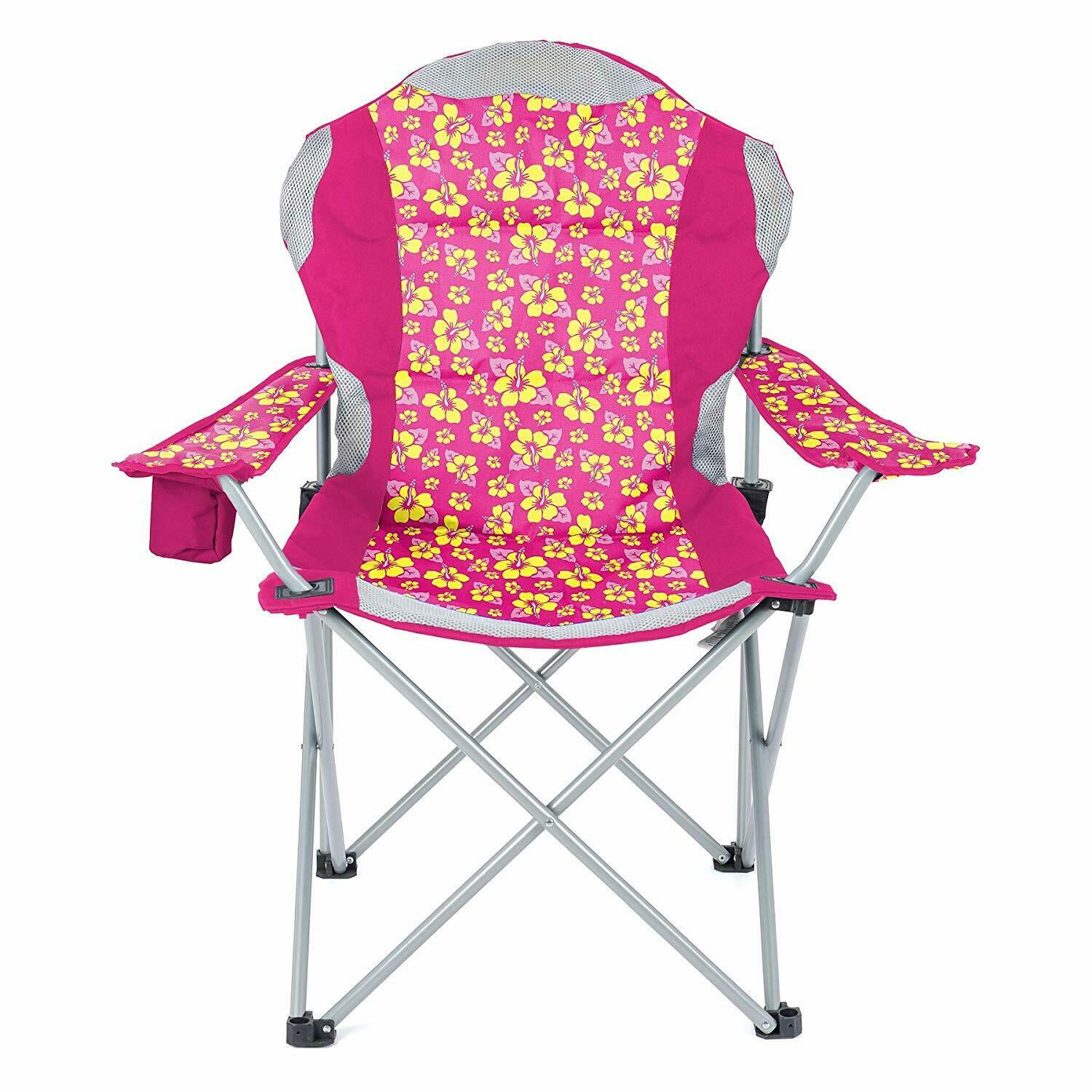 Yello Deluxe Padded Beach Folding Camping Chair With Cup Holder Pink