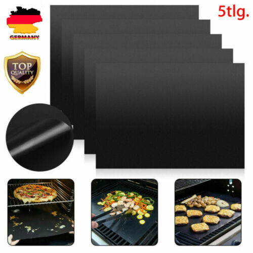 5er Set PREMIUM Grillmatte Backpapier Ersatz Dauer BBQ Grillmatten für Gasgrill