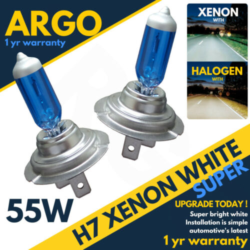 H7 55w 6500k Xenon Hid Super White Effect Look Headlight Lamps Light Bulbs 12v