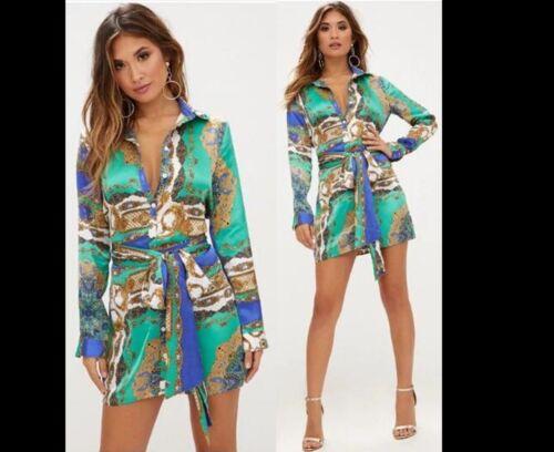 Womens Scarf Shirt Dress Ladies Long Sleeve Plaid Romper Belted Dress Blouse Top