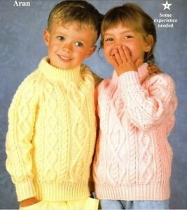784e5f0a1 Knitting Pattern Baby Child s Aran Cable Sweater 66-81 cm Chest (213 ...