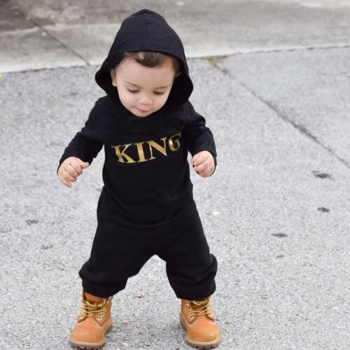 """Newborn Baby Kids Boy/'s /""""KING/"""" Hooded Romper Bodysuit Jumpsuit Clothes Outfits"""