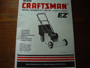Details about Craftsman Lawn Mower Owners Manual Model No  917-386140