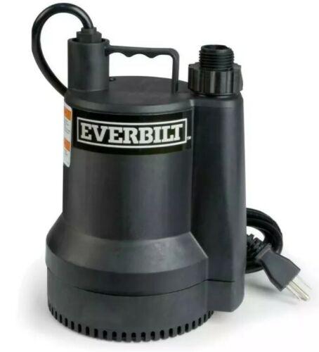 Everbilt Plastic Submersible Utility Sump Pump 1680 GPH SUP54-HD 1//6 HP NIB