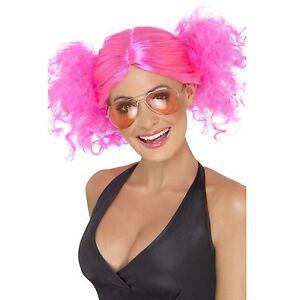ROSA-ANOS-80-Peluca-con-coletas-PUNK-ROCK-RAVE-Adulto-Mujer-Smiffys-disfraz