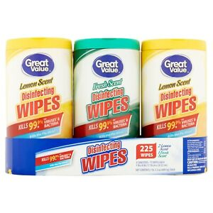 BRAND NEW Sealed Wipes 3-Pack 75 Ct each 225 Total 2 Crisp Lemon 1 Fresh