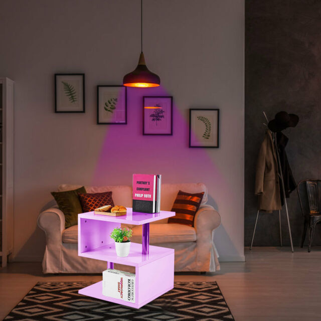 High Quality 2 Tier Sidecoffee Table With Led Light Living Room Decor White