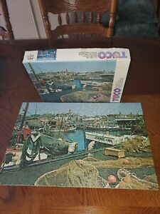 Vintage-TUCO-Jigsaw-Puzzle-Gloucester-Harbor-Sherman-039-s-Wharf-MA-COMPLETE-old
