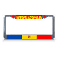 Moldova Country Flag Metal License Plate Frame Tag Border Two Holes