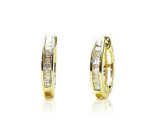 Sterling-Silver-Baguette-Diamond-Hoop-Earrings-13mm-Round-925-Gold-Plated-15ct
