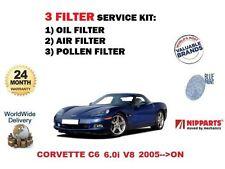 FOR CHEVROLET CORVETTE C6 6.0 V8 LS2 2005-> OIL AIR POLLEN 3 FILTER SERVICE KIT