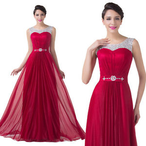 Long Formal Wedding Evening Party Gown Prom Bridesmaids Cocktail Dress Dark Red