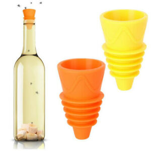 Flies Trap Funnel Reusable Silicone Fruit Fly Trap Pest Control Catcher K N --
