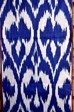 Summer SaIe! IKAT Stoff Handarbeit  Meterware Baumwolle  Blau-Beige Usbekistan