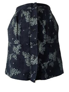 Banana Republic Navy Wool Blend Floral Skirt Embroidered Button Up Size UK 8