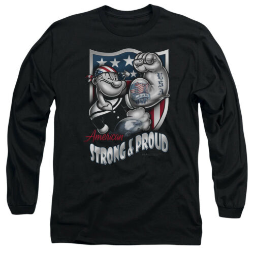 Popeye AMERICAN STRONG /& PROUD Licensed Adult Long Sleeve T-Shirt S-3XL