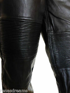 lederhose hose damen echt leder biker style genuine leather pants schwarz ebay. Black Bedroom Furniture Sets. Home Design Ideas