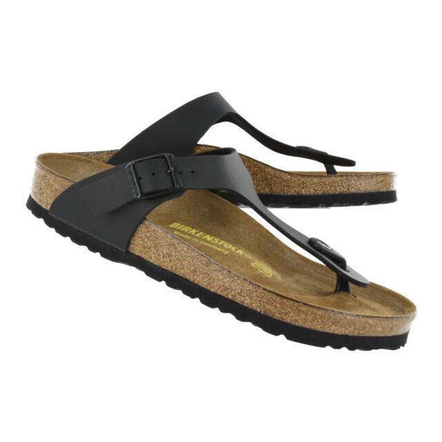 3c5a7ef15 Birkenstock Gizeh Adjustable Strap Leather Thong Sandals Black Size ...