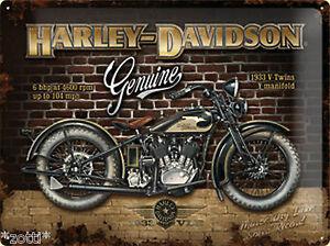 Nostalgic-Art-Plaque-Harley-Davidson-Genuine-Brique-Mur-30-x-40-Motorcycles