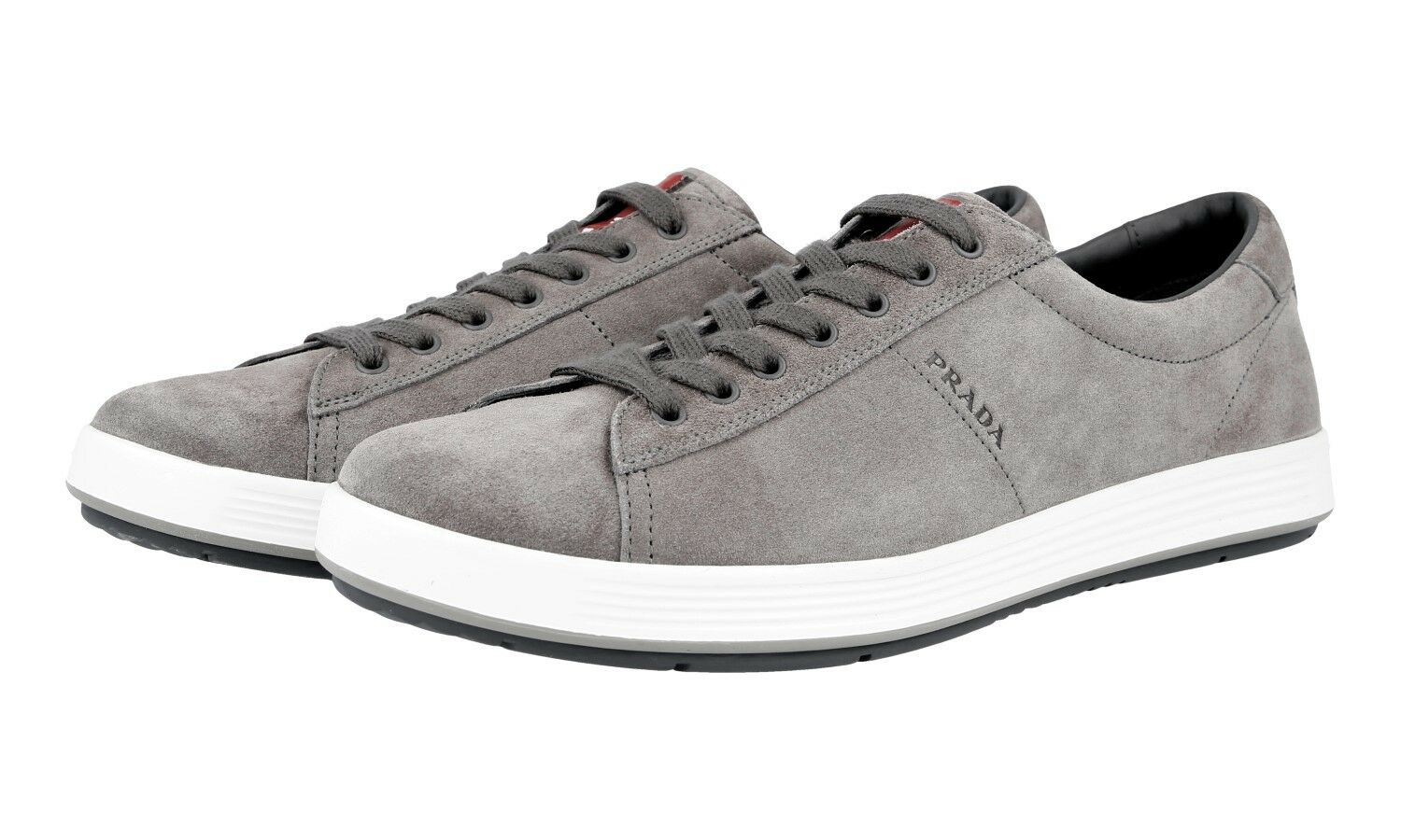 AUTHENTIC PRADA SNEAKERS SHOES 4E2860 GREY SUEDE NEW US 10