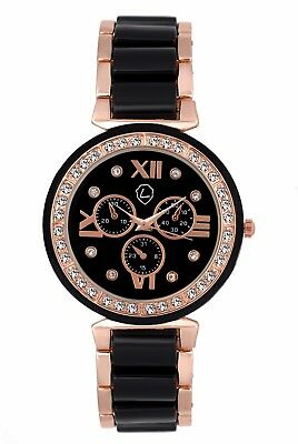 Lugano Women's Stainless Steel Strap Black Watch (LG 2035)