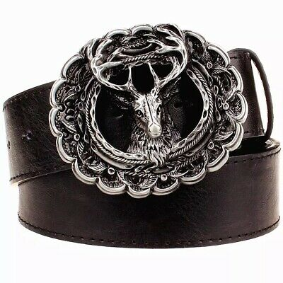 Stag Head Design Belt Buckle and Leather Belt in Gift Tin Ideal Hunting Present
