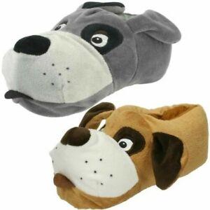 /'Unisex Junior Spot On/' Flat Novelty  Dog Slippers X2R073