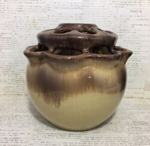 Image is loading VTG-Mid-Century-Studio-Art-Pottery-Flower-Frog- & VTG Mid Century Studio Art Pottery Flower Frog Vase | eBay