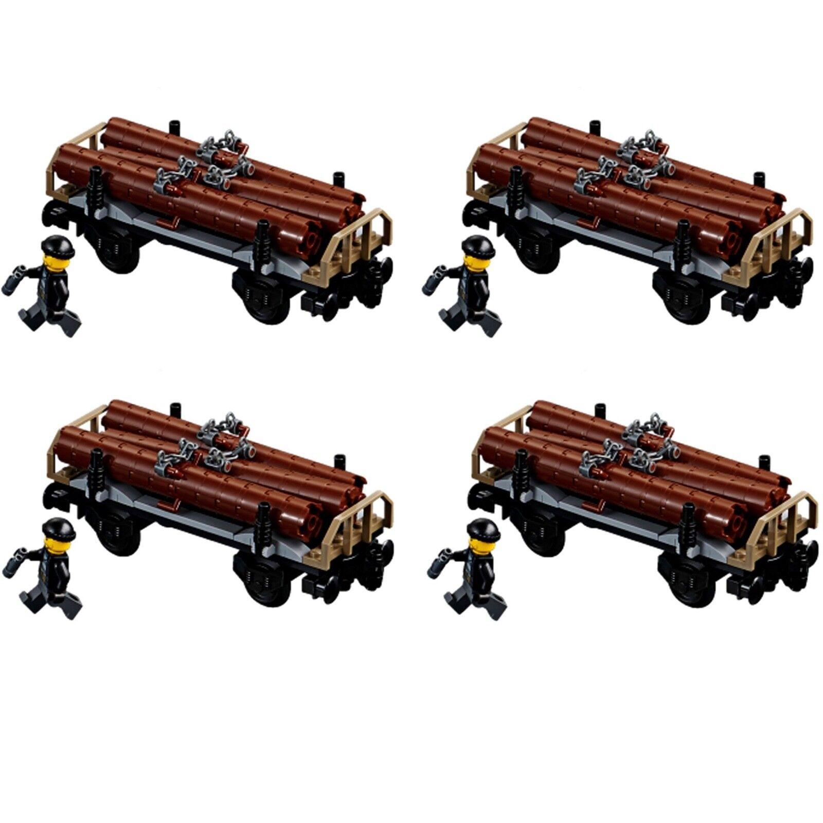 LEGO® City Eisenbahn aus Set 60198 Holzwaggon mit Figur 4 Stück NEU