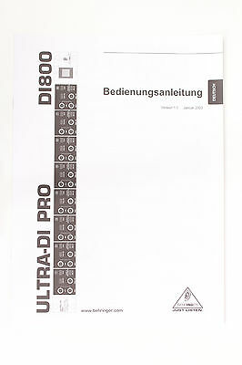 deutsch Original Behringer Ultra-di Pro Di800 User's Manual To Have A Long Historical Standing
