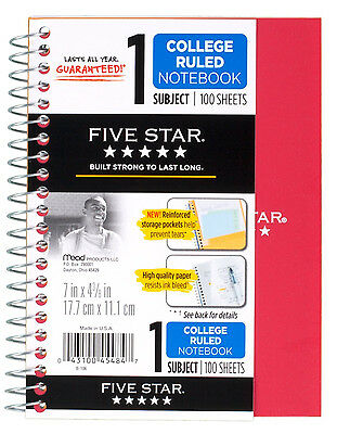 "Five Star Spiral Wirebound Notebook; College Ruled 5"" x 7"", 1 Subject, MEA-45484"