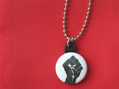 Black Panther Party MLK FIST Button Charm Steel Ball Chain Necklace
