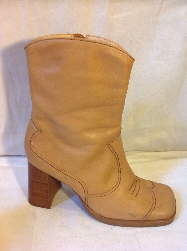 Faith Beige Ankle Leather Boots Size 41