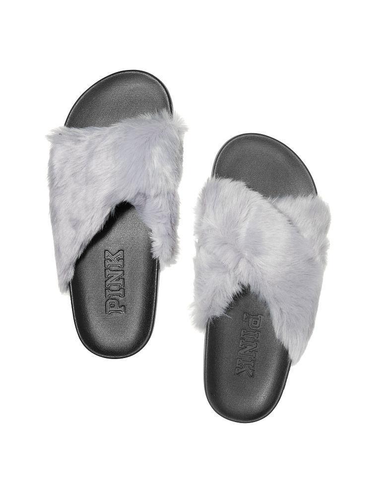 Victorias Secret Pink Faux Fur Crissscross Sandale Slides Flip Flop NWT S 5 - 6