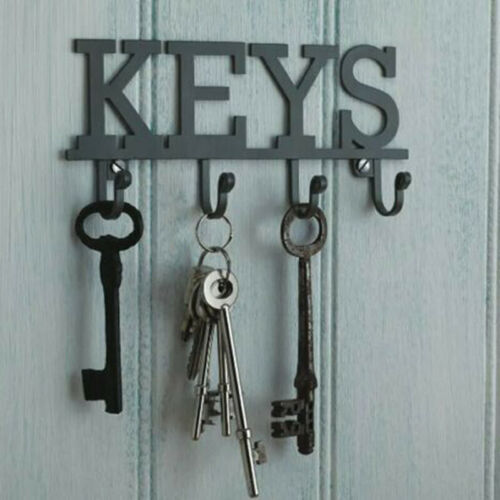 Vintage KEY HOLDER Storage Hooks WALL MOUNTED Grey Metal Rack Hanger Shabby  TUA