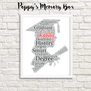 personalised girl graduation graduate word art gift print degree ma
