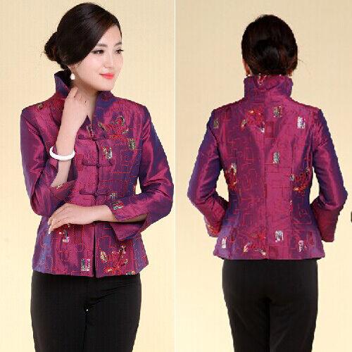 blue fuchsia Chinese Tradition Women/'s silk//satin evening coat Jacket s-3xl